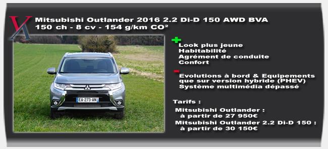 Essai Mitsubishi Outlander 2016